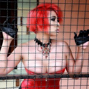 Macy Nihongo Profil Picture red hair leather lingerie