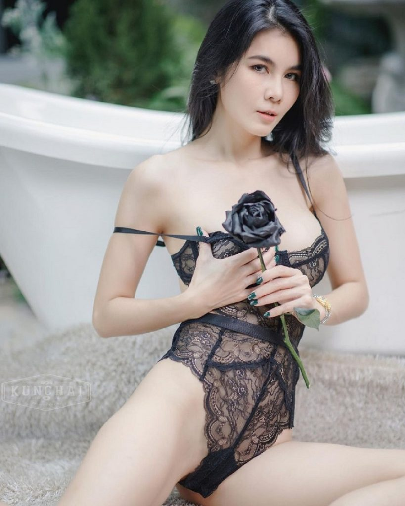 Natt Kejsarin Sexy Black Lace Bodysuit Black Rose