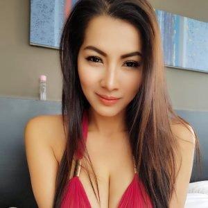 Thai girl fating organ nisreen in red bikini top