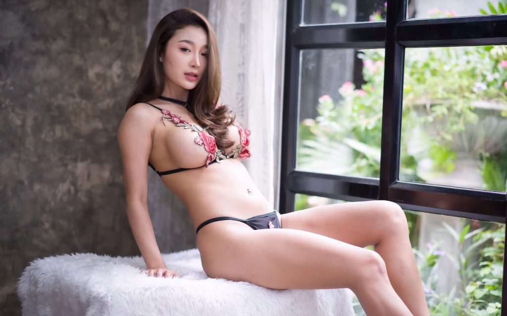 Thai model Namthip Chacov wearing sexy lingerie