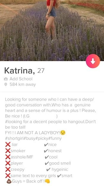 Profile of a Thai girl on Tinder